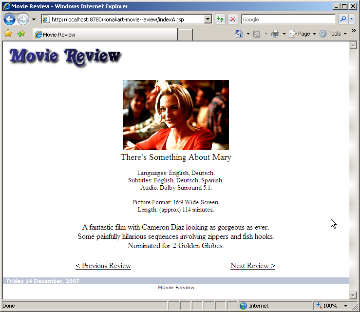 adding a shopping cart via soap movie review example